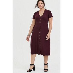 Torrid Ribbed Burgundy Midi Dress